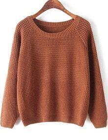 Khaki Round Neck Long Sleeve Chunky Sweater