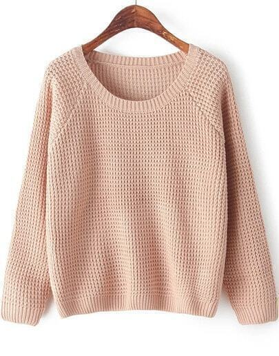 Pink Round Neck Long Sleeve Chunky Sweater