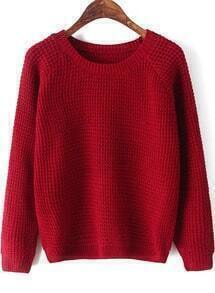 Red Round Neck Long Sleeve Chunky Sweater