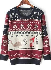 Red Long Sleeve Cartoon Print Knit Sweater