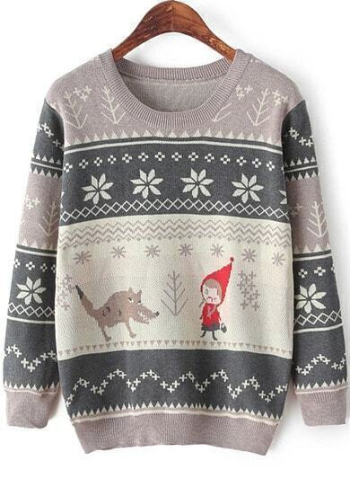 Grey Long Sleeve Cartoon Print Knit Sweater
