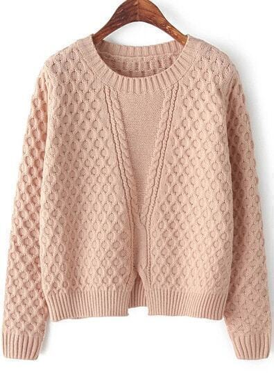 Pink Long Sleeve Split Cable Knit Sweater