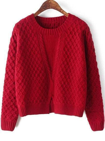 Red Long Sleeve Split Cable Knit Sweater