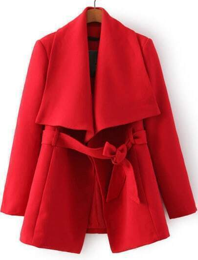 Red Lapel Long Sleeve Belt Coat