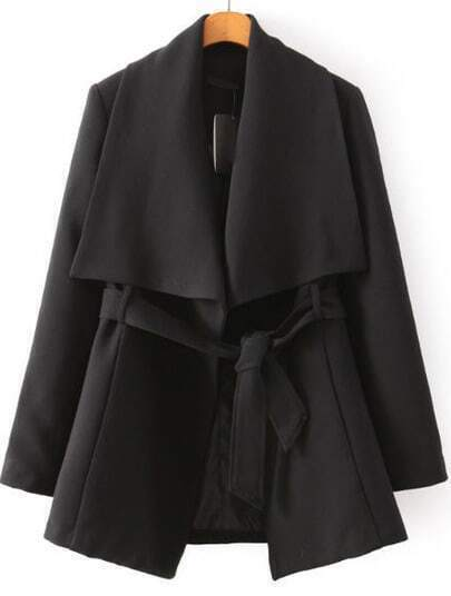 Black Lapel Long Sleeve Belt Coat