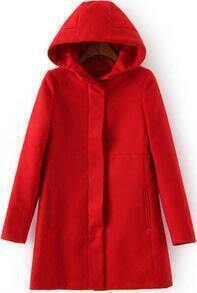 Red Hooded Long Sleeve Pockets Coat
