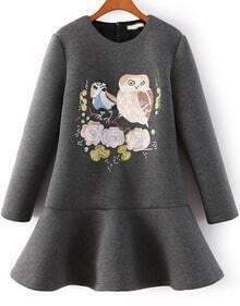 Grey Long Sleeve Owl Embroidered Ruffle Dress