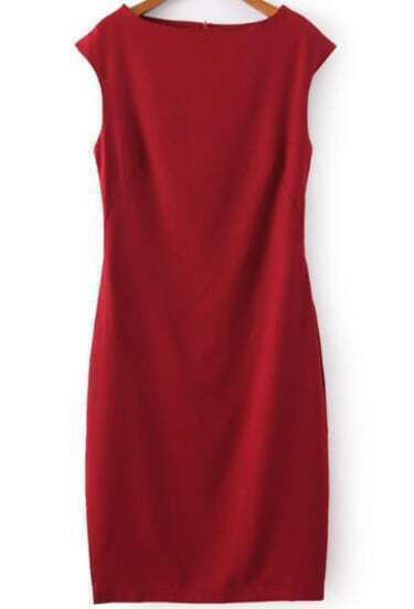 Red Boat Neck Sleeveless Slim Bodycon Dress