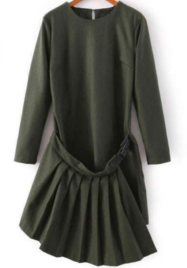 Green Long Sleeve Asymmetrical Pleated Dress