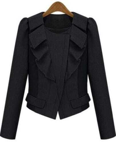 Black Long Sleeve Ruffle Crop Coat