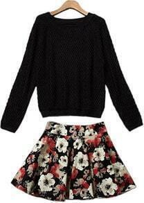 Black Long Sleeve Knit Sweater With Floral Skirt