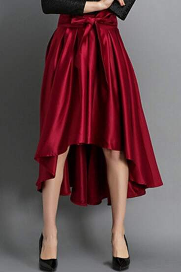 Red Bow Flare High Low Skirt