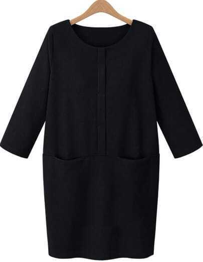 Black Long Sleeve Pockets Loose Dress