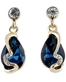 Blue Drop Gemstone Diamond Earrings