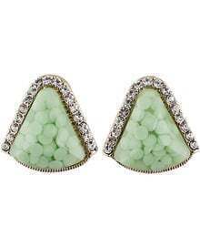Green Gemstone Gold Diamond Triangle Earrings