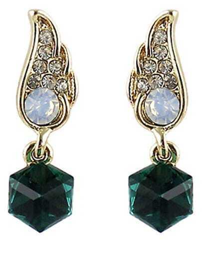 Green Gemstone Gold Diamond Wing Earrings