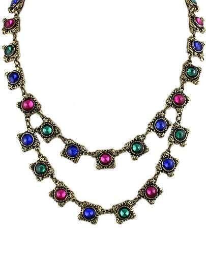 multicolor gemstone retro gold necklace shein sheinside