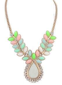 Multicolor Gemstone Gold Drop Necklace
