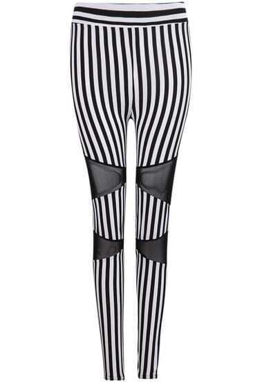 Black White Vertical Stripe Contrast Gauze Pant