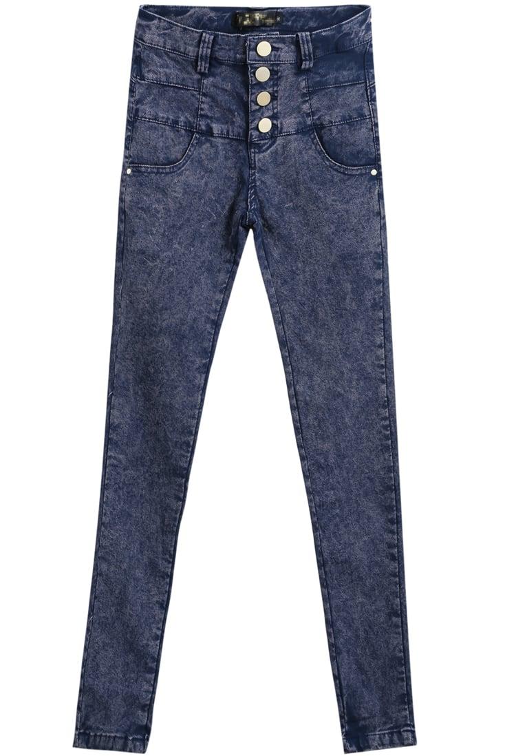 Blue High Waist Buttons Denim Pant