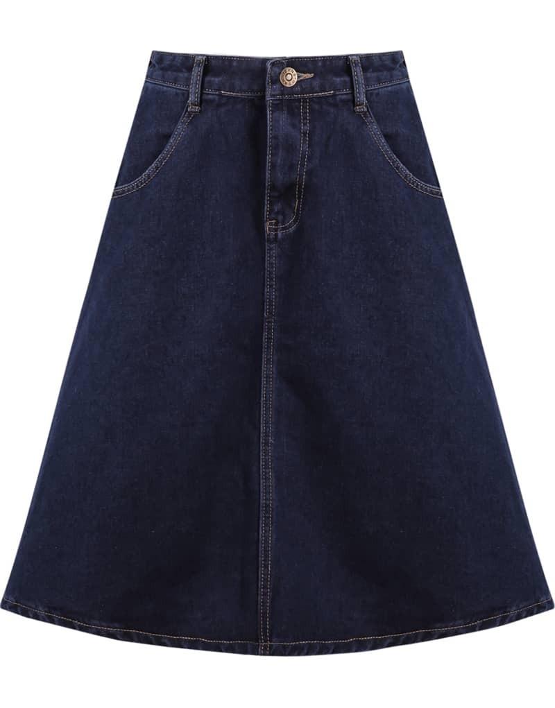 blue pockets midi denim skirt shein sheinside