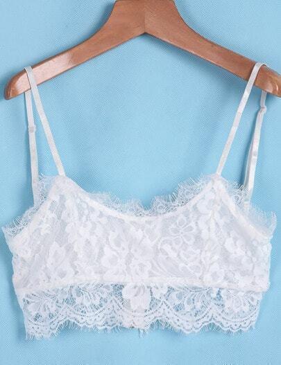 White Spaghetti Strap Zipper Lace Vest