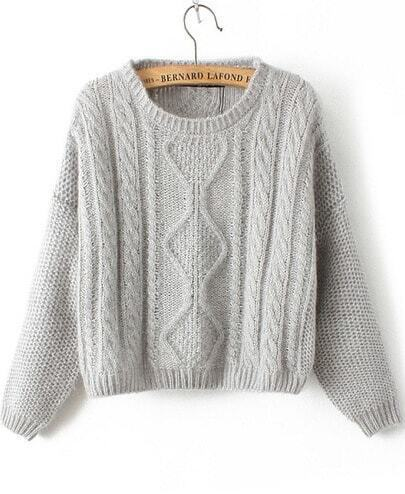 Grey Long Sleeve Cable Knit Mohair Sweater