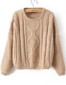 Khaki Long Sleeve Cable Knit Mohair Sweater