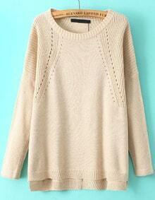 Apricot Long Sleeve Vintage Knit Loose Sweater