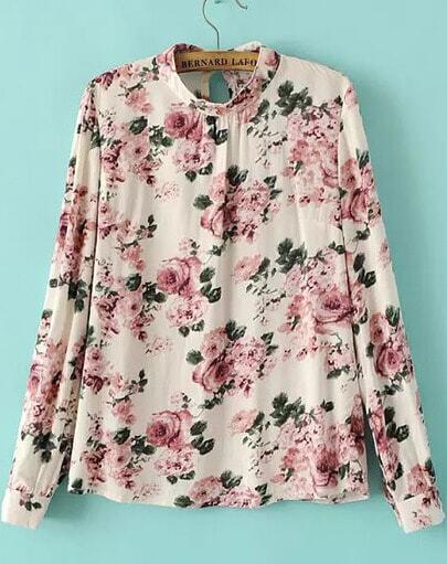 Beige Long Sleeve Floral Slim Blouse