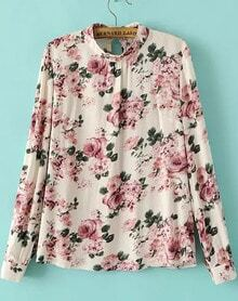 Beige Long Sleeve Floral Slim Blouse