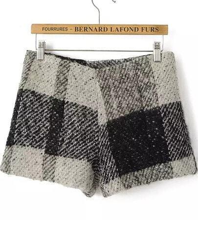 Black Plaid Woolen Shorts