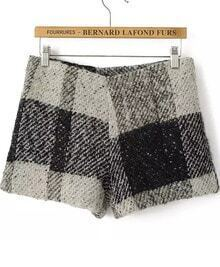 Black Plaid Woolen Shorts