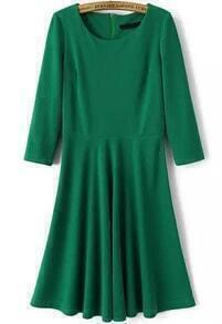 Green Long Sleeve Slim Pleated Dress
