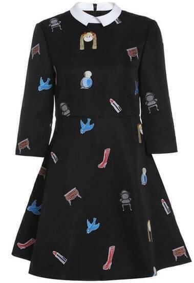 Чёрное платье с узором