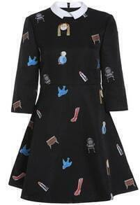 Black Half Sleeve Birds Stool Print Dress