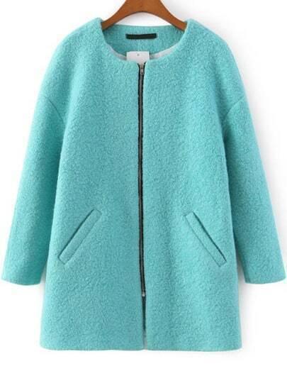 Green Long Sleeve Zipper Pockets Coat
