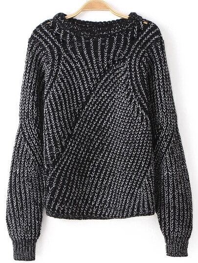 Black Long Sleeve Hollow Knit Loose Sweater
