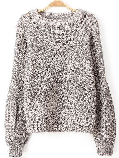 Grey Long Sleeve Hollow Knit Loose Sweater
