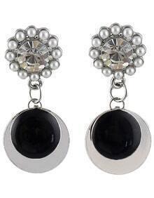 Silver Bead Round Earrings