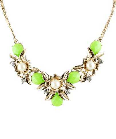 Green Gemstone Gold Pearl Chain Necklace