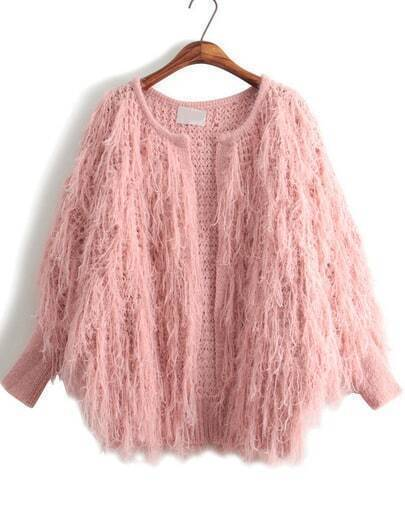 Pink Long Sleeve Tassel Knit Cardigan