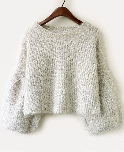 Apricot Long Sleeve Vintage Crop Loose Sweater