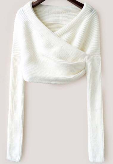 White Long Sleeve Crop Knit Sweater