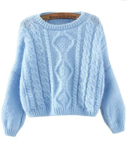 Blue Long Sleeve Split Crop Cable Knit Sweater