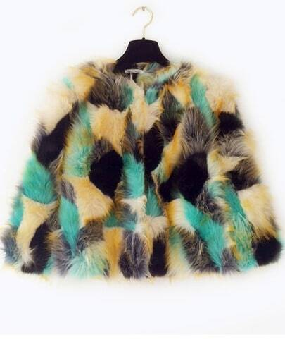 Green Faux Fur Crop Coat