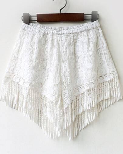 White Elastic Waist Floral Crochet Tassel Shorts