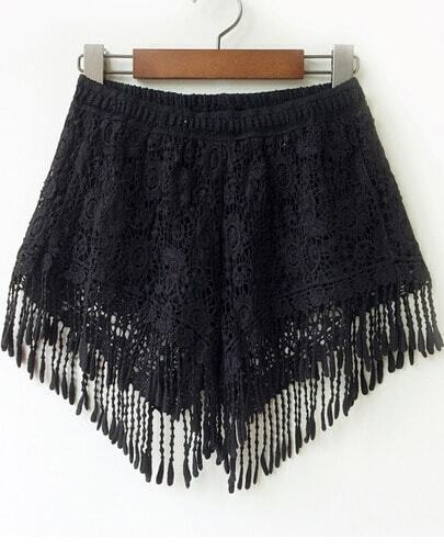 Black Elastic Waist Floral Crochet Tassel Shorts