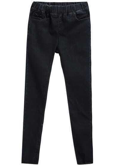 Black Elastic Waist Slim Tassel Denim Pant