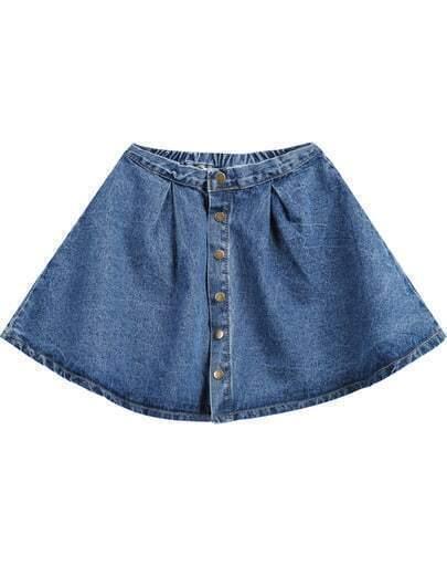 Blue Buttons Flare Denim Skirt